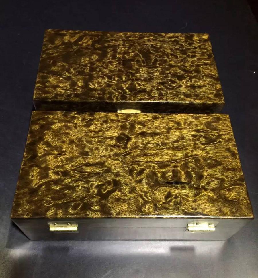 2 pièces Top qualité millénaire foncé enterré or Phoebe bois boîte de rangement de bijoux avec grain de dragon et texture d'or filé