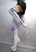 Newest Popular White Concise Design Side Zipper High Heeled Platform Over the Knee Boots Hot selling gladiator women boots