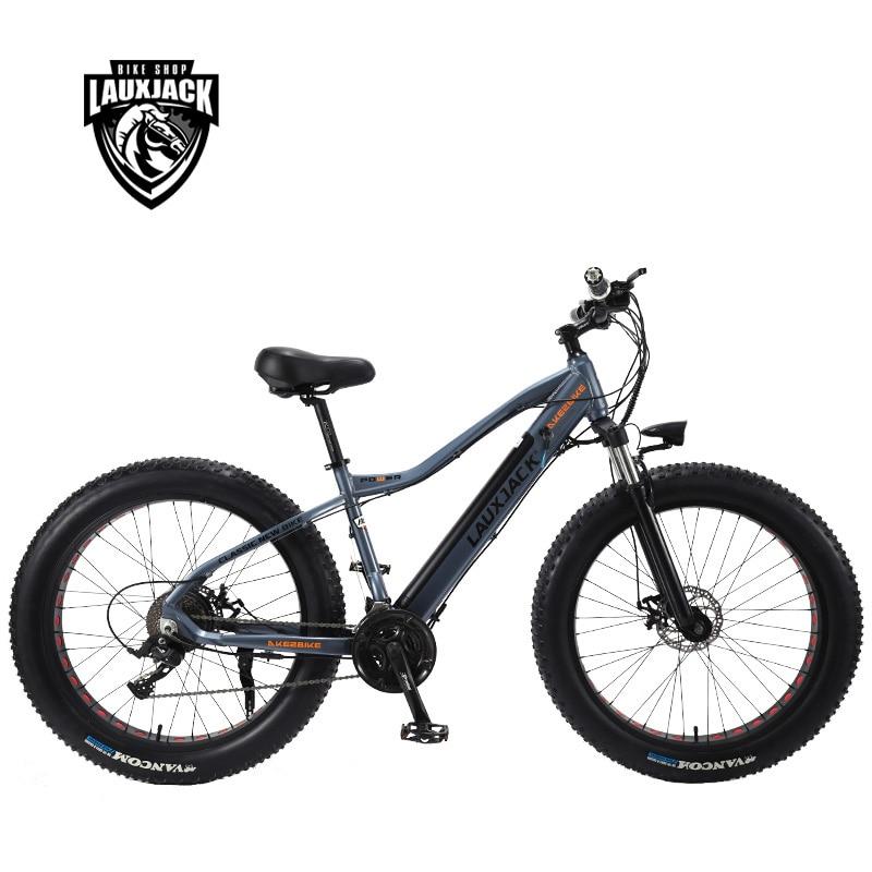 LAUXJACK Fatbike Electric Bike Alluminium Frame 27 Speed Disc Brake 26 x4 0 Wheel