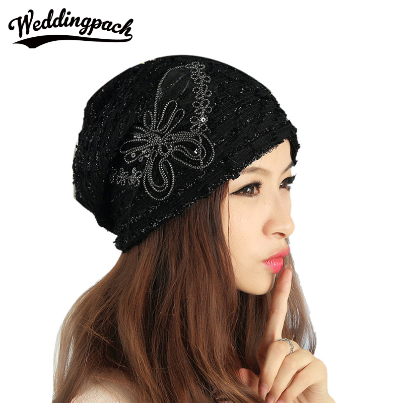 Cotton Womens Slouch Hats Solid Elegant Women Skullies Handmade Butterfly Sequins Women Beanie Hats Black Lace Hat For Ladies skullies