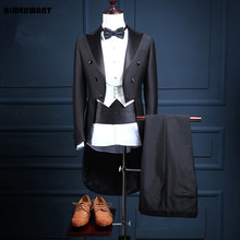 AIMENWANT Custom made Mens Stage Costume Korean Studio Tuxedo Suit Male Slim Groom Wedding Dress Suits(Jacket+Vest+Pants) 3pcs