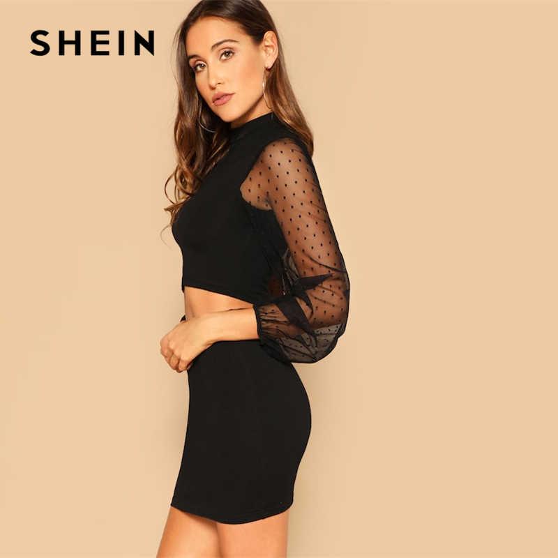 e7b4cdc9b377 ... SHEIN Streetwear Black Stand Collar Dot Mesh Long Sleeve Crop Top And  Short Skirt Set Women ...