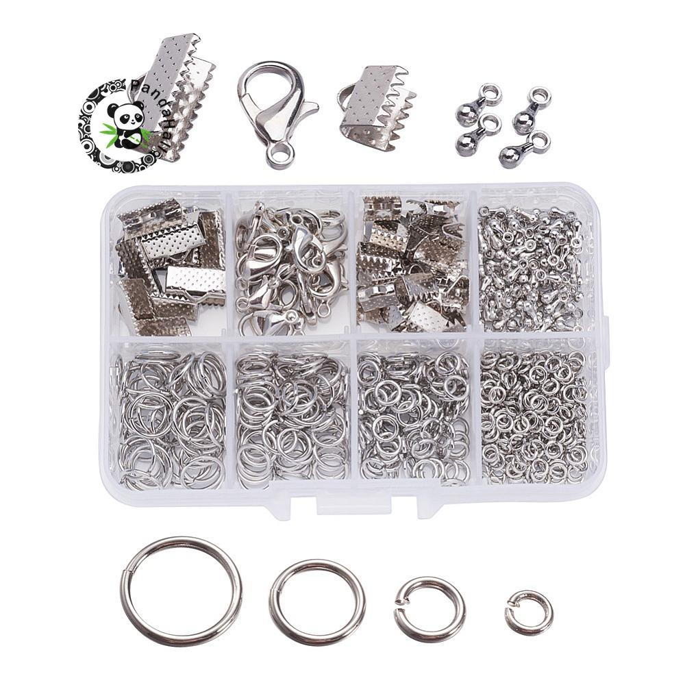 1box jewelry findings 20pcs alloy lobster claw clasps 45pcs iron ribbon ends 40g brass jump rings