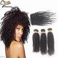7A дешево бразильские странный вьющиеся с закрытия необработанного девственной бразильские волосы с закрытием странный вьющиеся волосы с пучками на складе