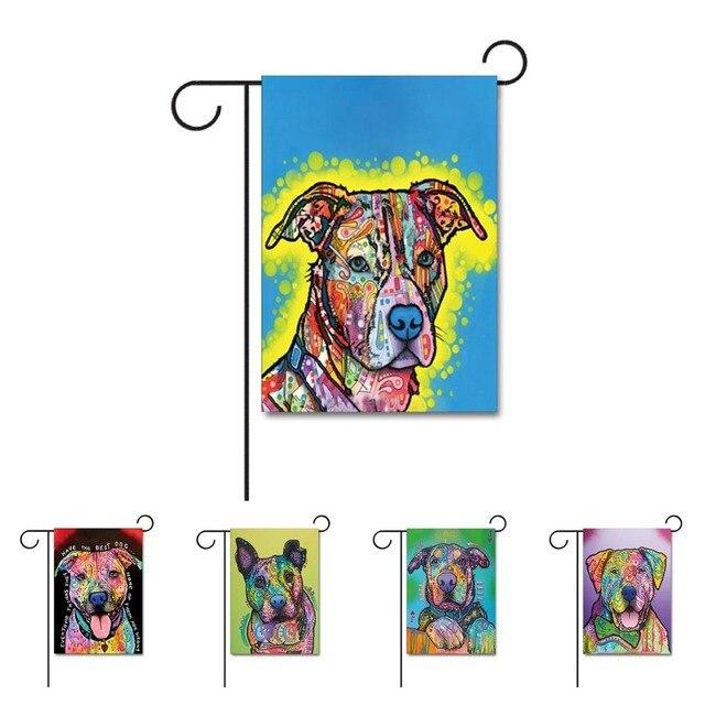 Funny Dog Home Decorative Garden Flag Design With Pitbull Animal House Flag  100% Polyester Pet