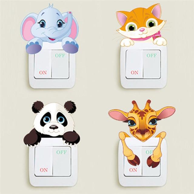 Cute Animals Switch Stickers Kids Room Home Decoration Elephant Cat Panda Giraffe Pvc Mural Art Diy 3D Decorative Wall Decal