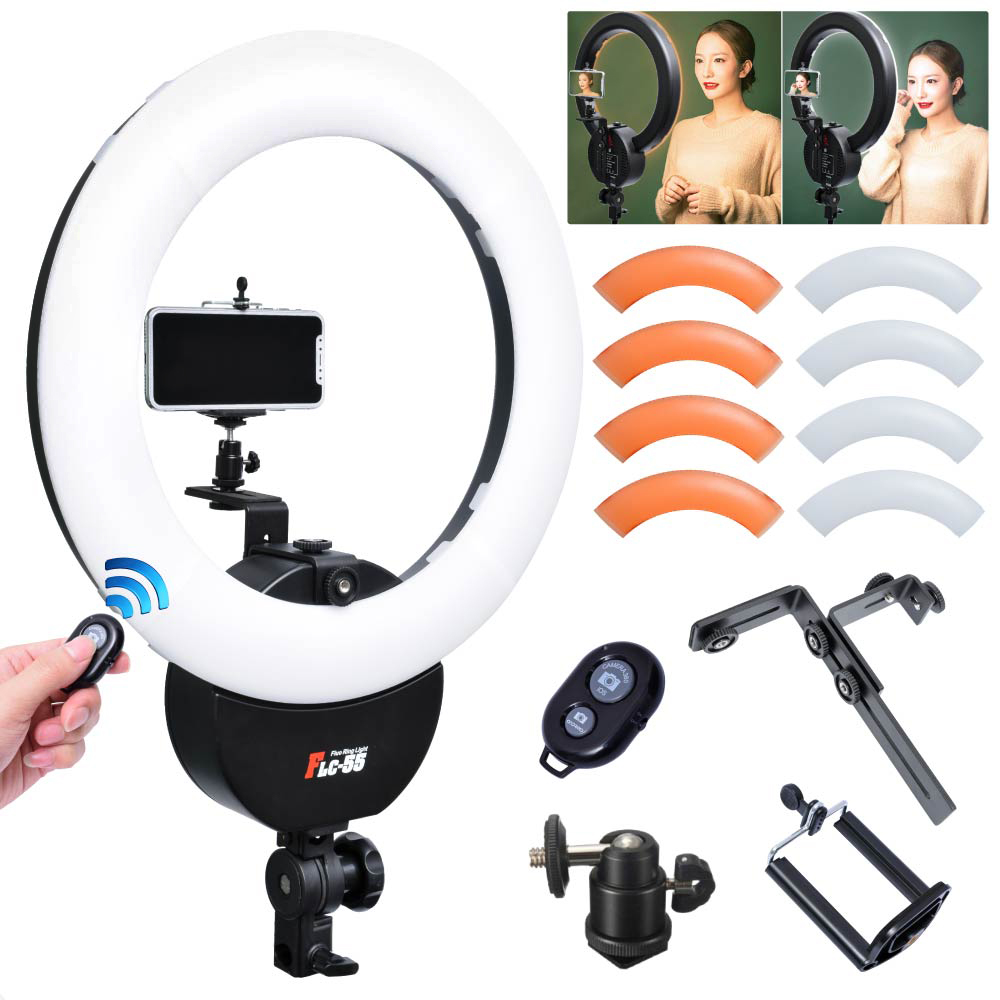 Falconeyes FLC-55 55W 1642cm 5600K Ring Light With Orange Filter Camera Phone Clamp for Portrait Make Up Video Photo Selfie
