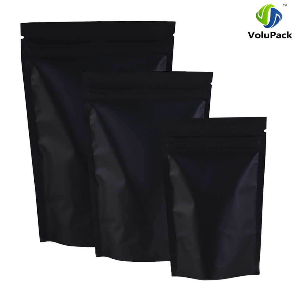 12x18cm (4.7x7inch) 100pcs barrier heat seal Retail Package bag black aluminum foil ziplock stand up pouches for tea snacks