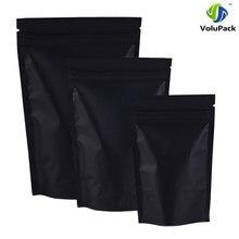12x18cm (4.7x7 inç) 100 adet bariyer ısı mühür perakende paket çanta siyah alüminyum folyo kilitli dik duran poşetler çay aperatifler için