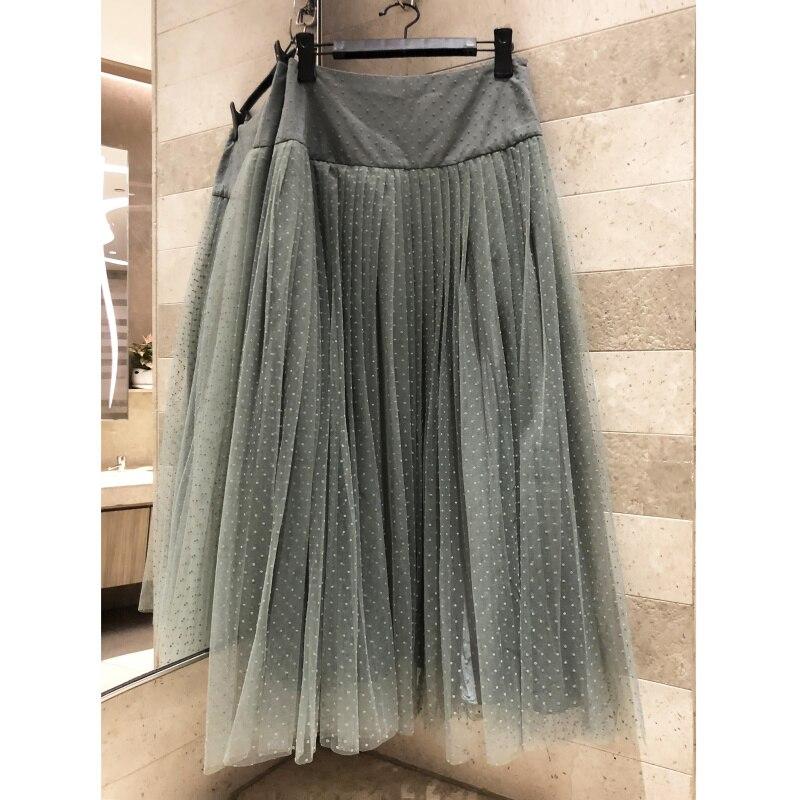 عالية الجودة شبكة تنورة المرأة طويلة نصف طول المرأة 2019 الربيع الصيف تنورة الحرير بطانة أنيقة مزاجه تنورة-في تنورة من ملابس نسائية على  مجموعة 1