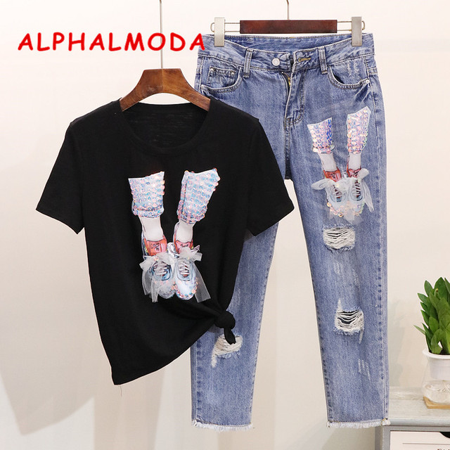 ALPHALMODA Women 2019 New Sequined Gauze Shoe Short Sleeve T-shirt Ripped Hole Calf-length Jeans Trendy Clothing Outfit