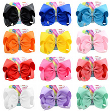Kids Hair Accessories 8 Inch Large grosgra Jojo Siwa Solid Color Ribbon Bow With Rhinestone Alligator Clips For Baby Girls
