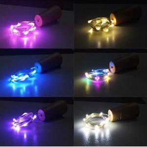 2 M 20 المصابيح النبيذ إضاءة علي شكل الزجاجة مع الفلين بنيت في بطارية LED الفلين شكل الفضة الأسلاك النحاسية الملونة الجنية البسيطة سلسلة أضواء