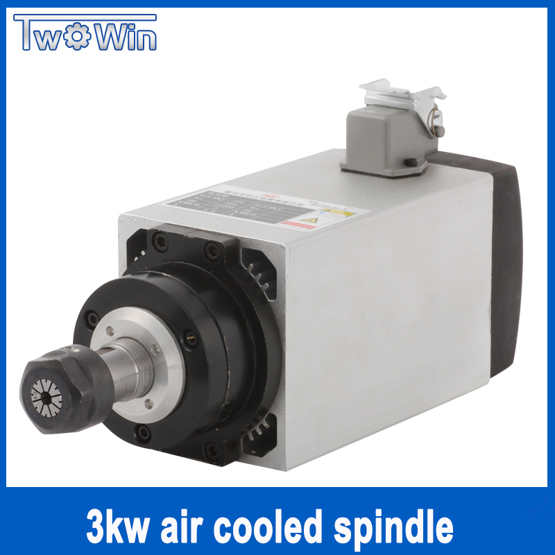 Twowin 220V /380V CNC Spindle Motor For CNC Milling Machine 3KW Air Cooled Spindle 80mm ER20 Router Milling Tools free shipping cnc spindle 2 2kw 220v 110v air cooled spindle motor machine 80mm er20 collet router tools for milling