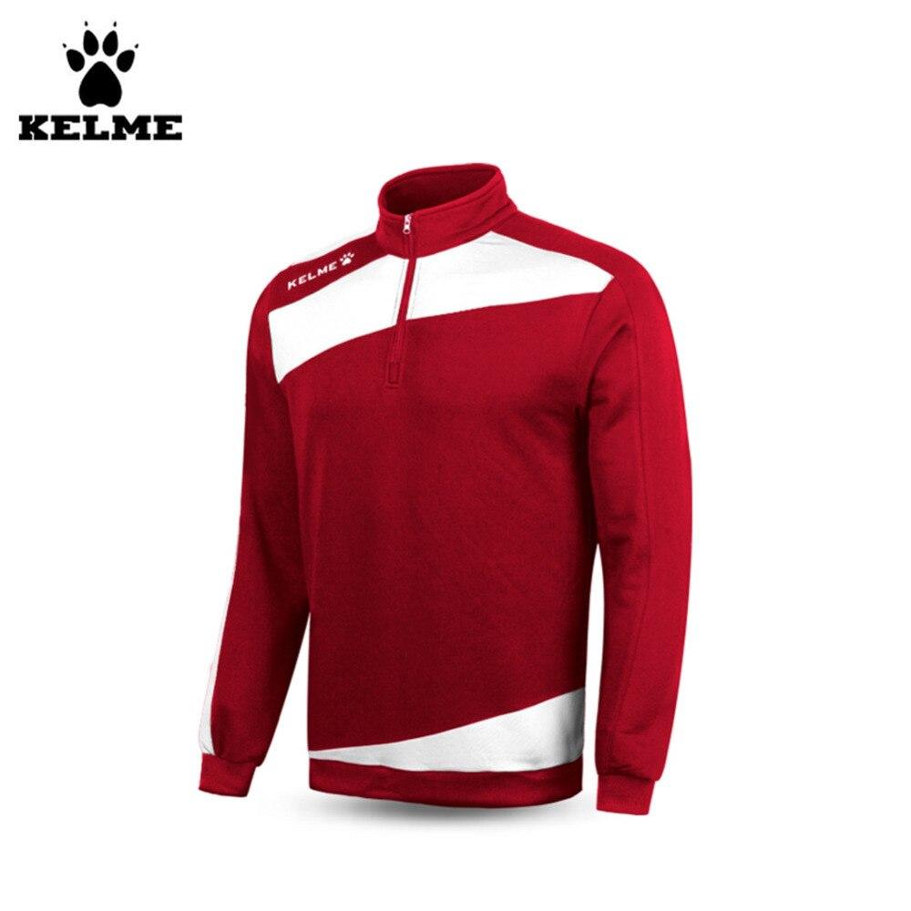 Kelme hommes manches longues demi Zip col montant entraînement football Jersey K15Z312 rouge blanc