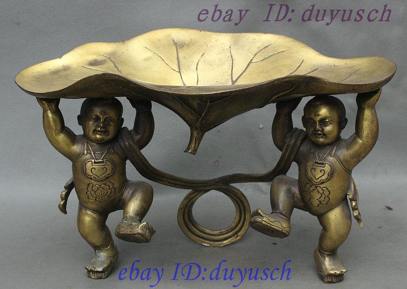 10 Chinese Folk Bronze Sculpture 2 Boy TongZi Kid Hold Lotus Flower Statue Tray 10 Chinese Folk Bronze Sculpture 2 Boy TongZi Kid Hold Lotus Flower Statue Tray