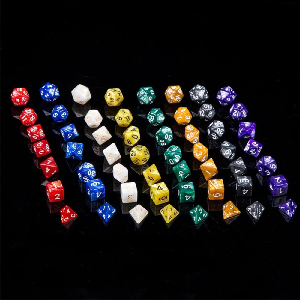 7PCS/SET Multicolor Acrylic Multifaceted Stereo Dice D & D Digital Dice Tabletop Dice Set Board Game Accessories
