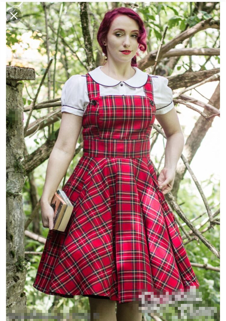0151984fc57 40- women vintage 50s tartan swing pinafore dress in red pinup vestidos  plus size rockabilly