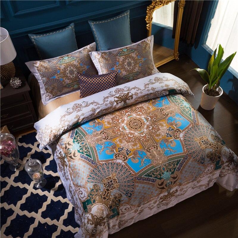 100 s Coton Égyptien Lit cover set De Luxe Bohême Mandala ensemble de Literie Reine Roi taille 4 pcs housse de Couette Lit ensemble de draps Taies D'oreiller