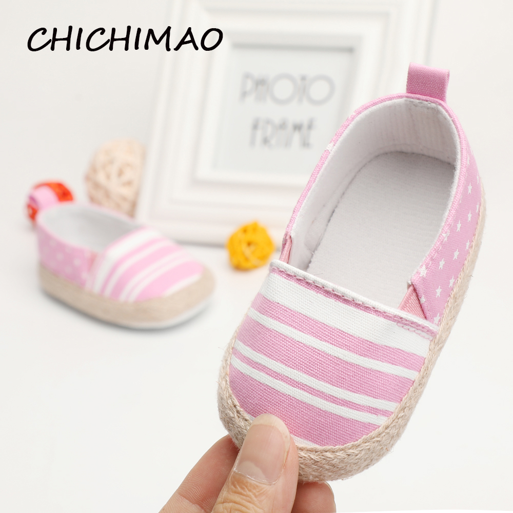 Shoes Newborn First Walkers Baby Shoes Striped Slip-On Girl Babies Summer/Spring Soft Sole Booties Canvas Newborn Girls 0-18 M