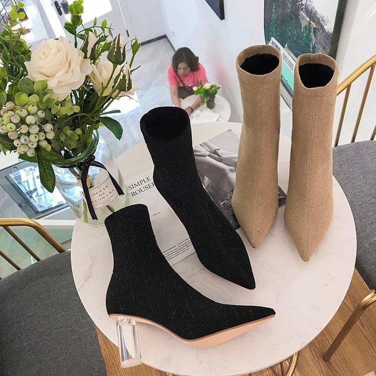 Bottes La Transparent Épais Nouveau marron Femmes Sauvage Sexy Noir Talons Hauts Des Avec De Extensibles 2018 Mode Confortable À Pointu REzYcBEq