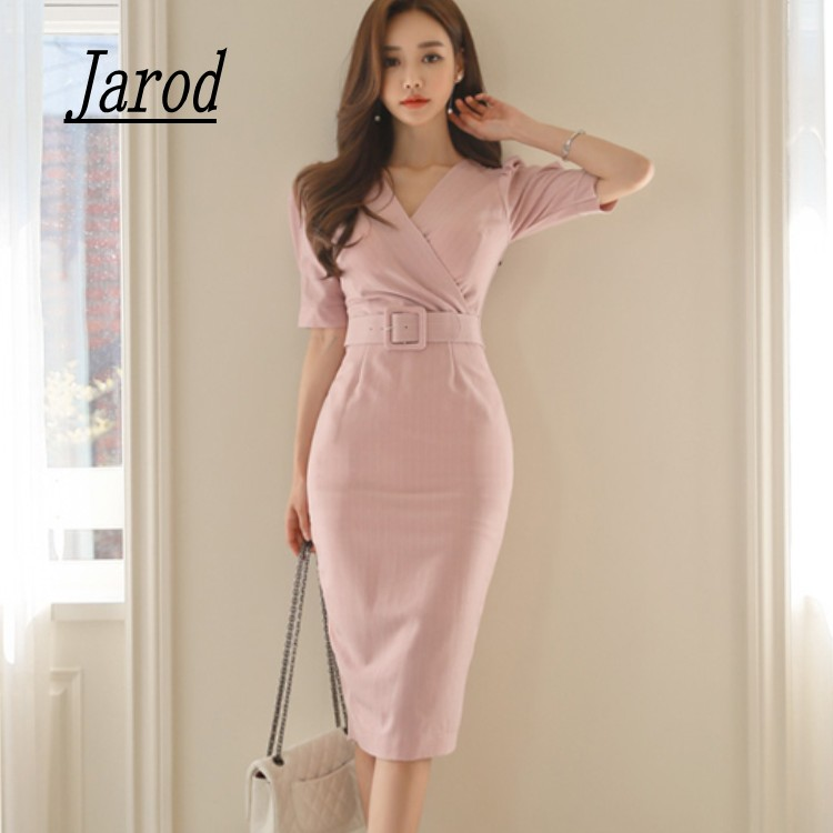 New Fashion Korean Style Women Office pencil Dress 2018 pink Stripe Summer Formal short sleeve V Neckl Slim Work Sashes Dress