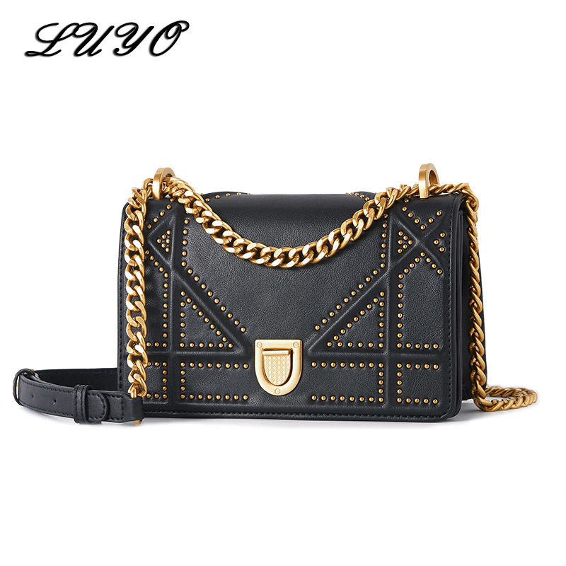 2018 New Summer Vintage Chain Rivet Genuine Leather High Quality Cowhide Luxury Handbags Women Bags Designer Famous Brands chispaulo women genuine leather handbags cowhide patent famous brands designer handbags high quality tote bag bolsa tassel c165
