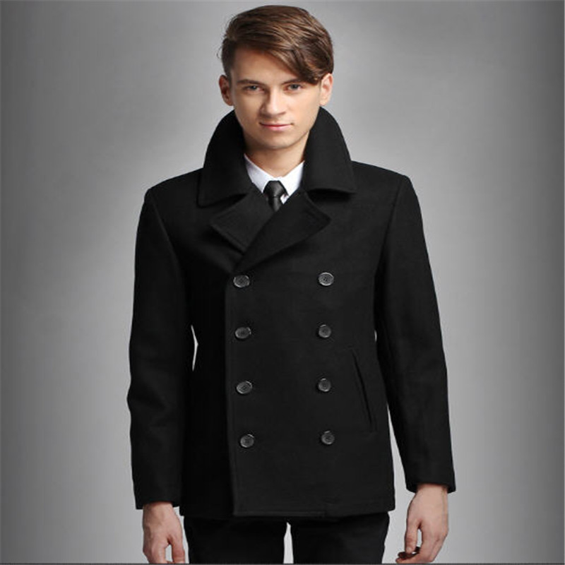 Aliexpress.com : Buy Mens Pea Coat Black Double Breasted Wool ...