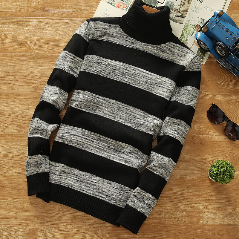 Turtleneck Sweaters 2018 New Men Striped Long Sleeve Pullovers Men Sweater Knitwear Jumpers Jersey  Cheap Winter Sweaters