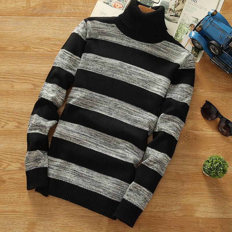 Turtleneck Sweaters  New Men Striped Long Sleeve Pullovers Men Sweater Knitwear Jumpers Jersey  Cheap Winter Sweaters