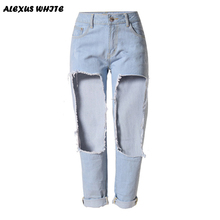 Straight Jeans 2016 Women's Boyfriend Style Hole Denim Trousers Female Loose Casual Ripped Pants