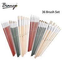 Bianyo Artist Supplies Paint Brush 36 Pcs a Set Of Profession Drawing Aqua Nylon Water Brushes Acrylic Oil Painting Brushes