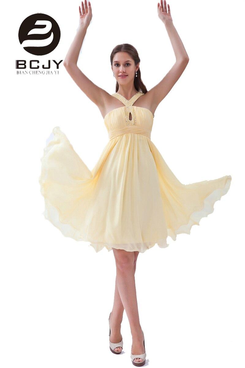 2019 une ligne en mousseline de soie longueur genou perles cristal plissé robe de bal robes de demoiselle d'honneur sur mesure vestido madrinha longo