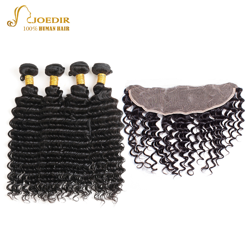JOEDIR Human Hair Bundles With Frontal Closure 13x4 Pre-Colored Deep Wave Indian Hair Bundles Non Remy Hair Extension ...