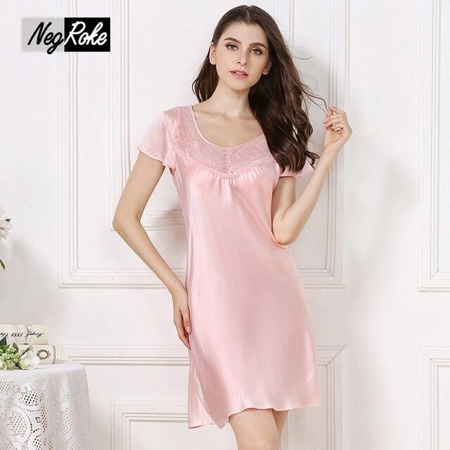 Nuevo diseño del verano 100% de las mujeres de seda camisones de manga corta camisón sleepdress sexy noble simple para las mujeres de seda del grado superior
