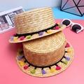 Sombreros de verano para mujeres de viaje de vacaciones playa de la paja de la borla sombrero hip hop sombreros para las mujeres sombrero tejido a mano