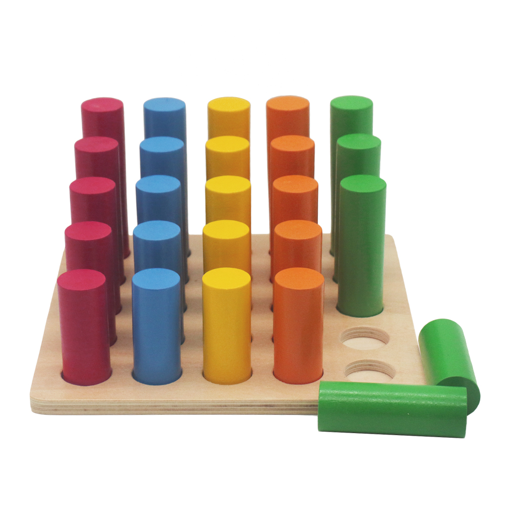 Blocs-cylindres Montessori éducatifs en bois jouets préscolaires en bois Montessori jouets d'apprentissage pour 2 3 4 ans B1386T