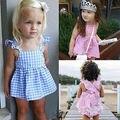 2016 Meninas Do Bebê Roupas 0-24 M Bebê Recém-nascido Bebes Verão Plain Mini Vestido + PP Bloomers Curtas Bottoms 2 pcs Outfit Vestuário conjunto