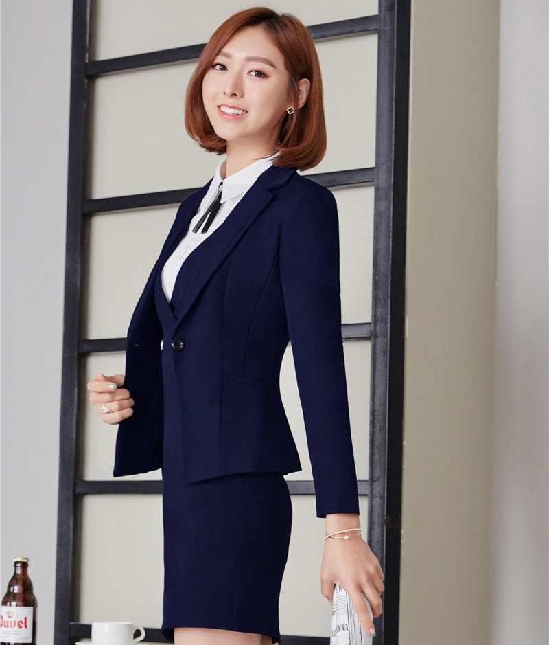 11db1fe84a63656 ... Осень-зима Профессиональный деловые блейзеры женские костюмы форма  стильные платья костюмы для Бизнес Для женщин