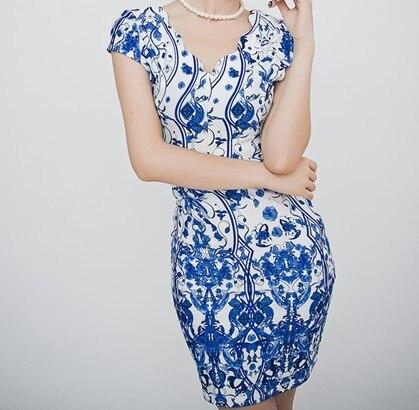 S- 3XL Vintage Sexy Elastic Hip Print V-neck Women Summer Dress  2015  Pencil casual short  dress 100