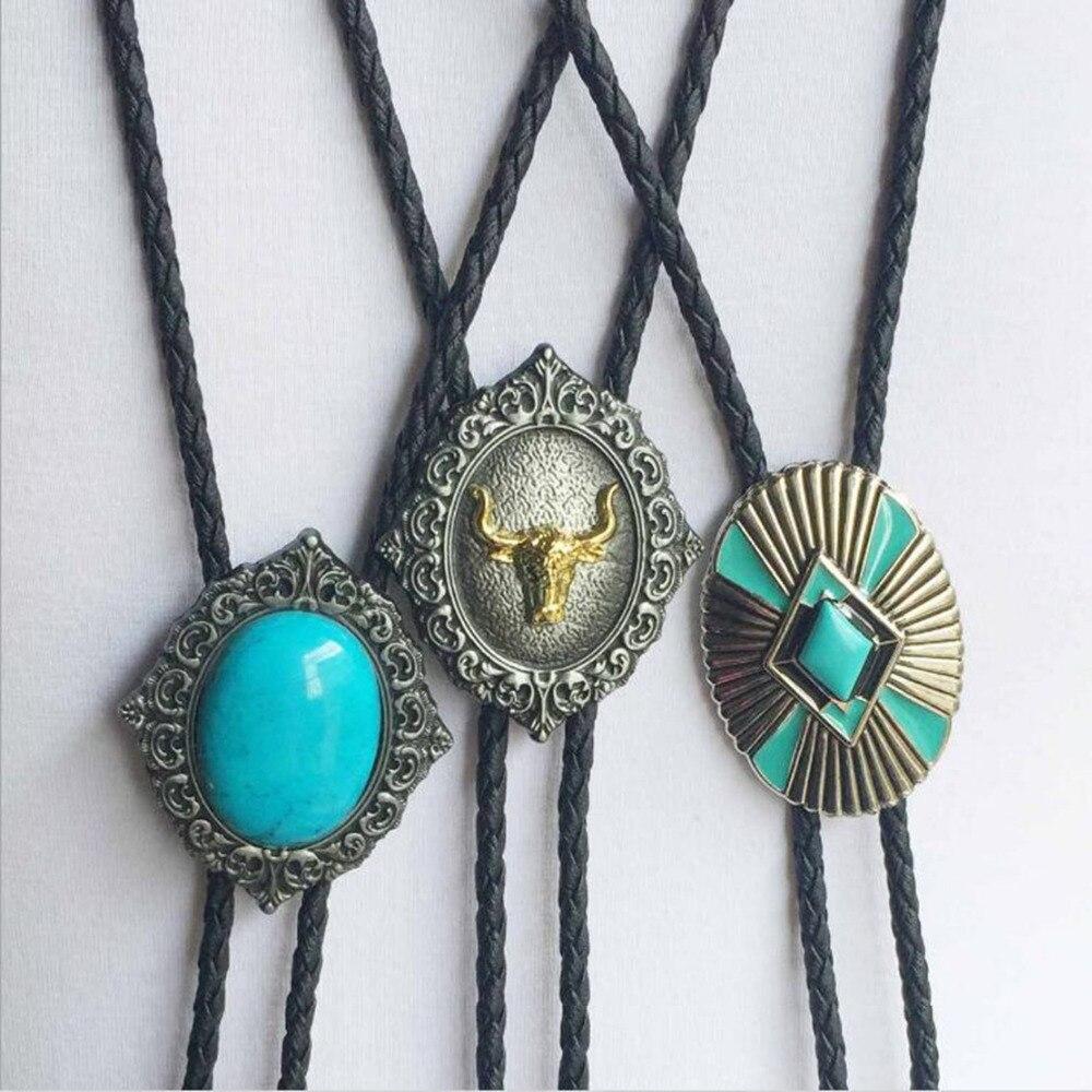 Vintage Europe Turquoise Long bolo tie Cowboy style Zinc Alloy Pendant Indian style tie classic Gift accessories Llavero bijoux