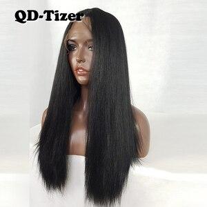Image 4 - QD Tizer Lange Yaki Haar Schwarz Farbe Hitze Beständig Synthetische Spitze Front Perücken mit Baby Haar Licht Yaki Haar perücken für Frauen