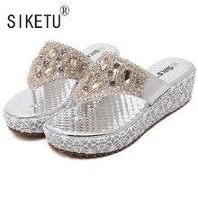 SIKETU Brand 2017 Women Summer Gold Silver Sandals Bead Rhinestone Leisure Beach Shoes Slippers 35 40