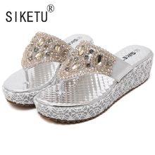 1ce749eb6 SIKETU Brand 2017 Women Summer Gold Silver Sandals Bead Rhinestone Leisure  Beach Shoes Slippers 35-40