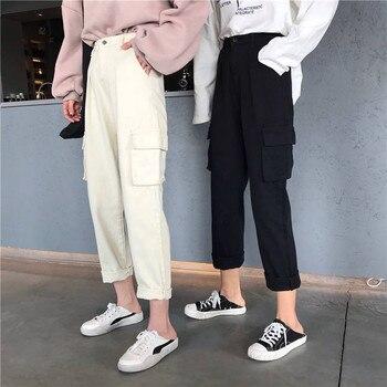 Autumn Cargo Pants Women Loose Streetwear With Pockets Pencil Pants Fashion Ankle-length 2019 Japan Trousers Women Spring Pants