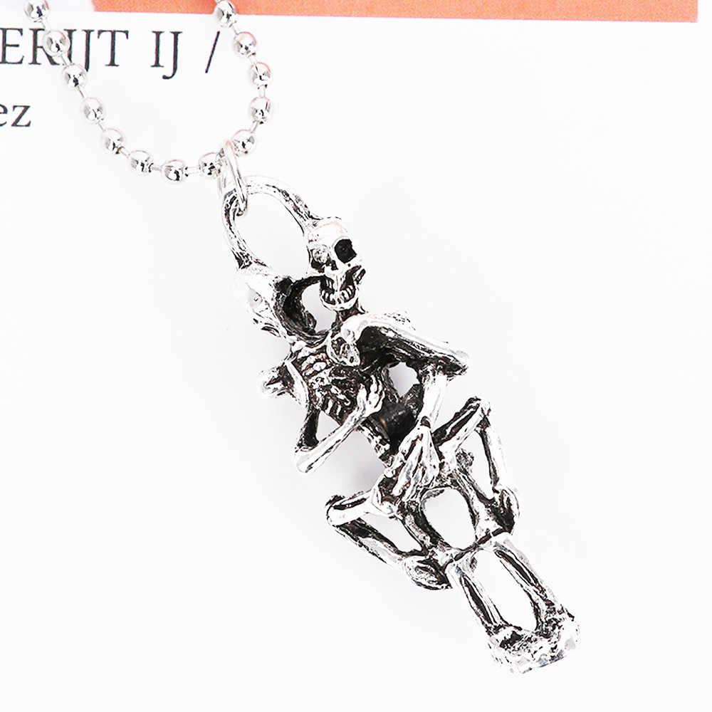 Moda męska nieskończoność tybet naszyjnik srebrny czarny ze stali nierdzewnej podwójne szkielet czaszka wisiorek naszyjnik miłość lojalność dziewczyna prezent