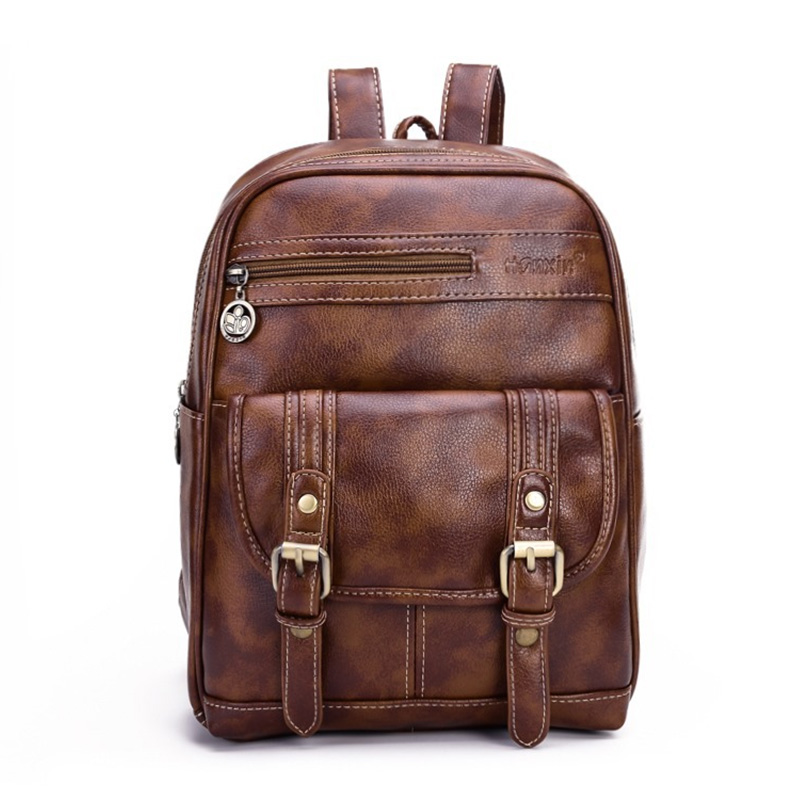Vintage Unisex Travel Bag Men Backpack PU Leather  Women Men Bag Student Backpacks