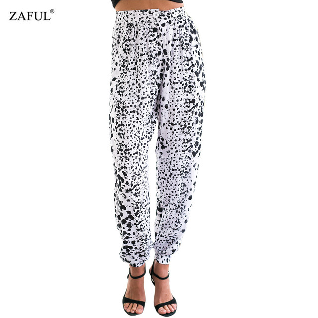 3a6b1889dfd1 ZAFUL Summer Women Trousers Casual Loose Ink Print Wide-leg Chiffon Woman  Girls Harem Pants Daily Beach Female Culottes