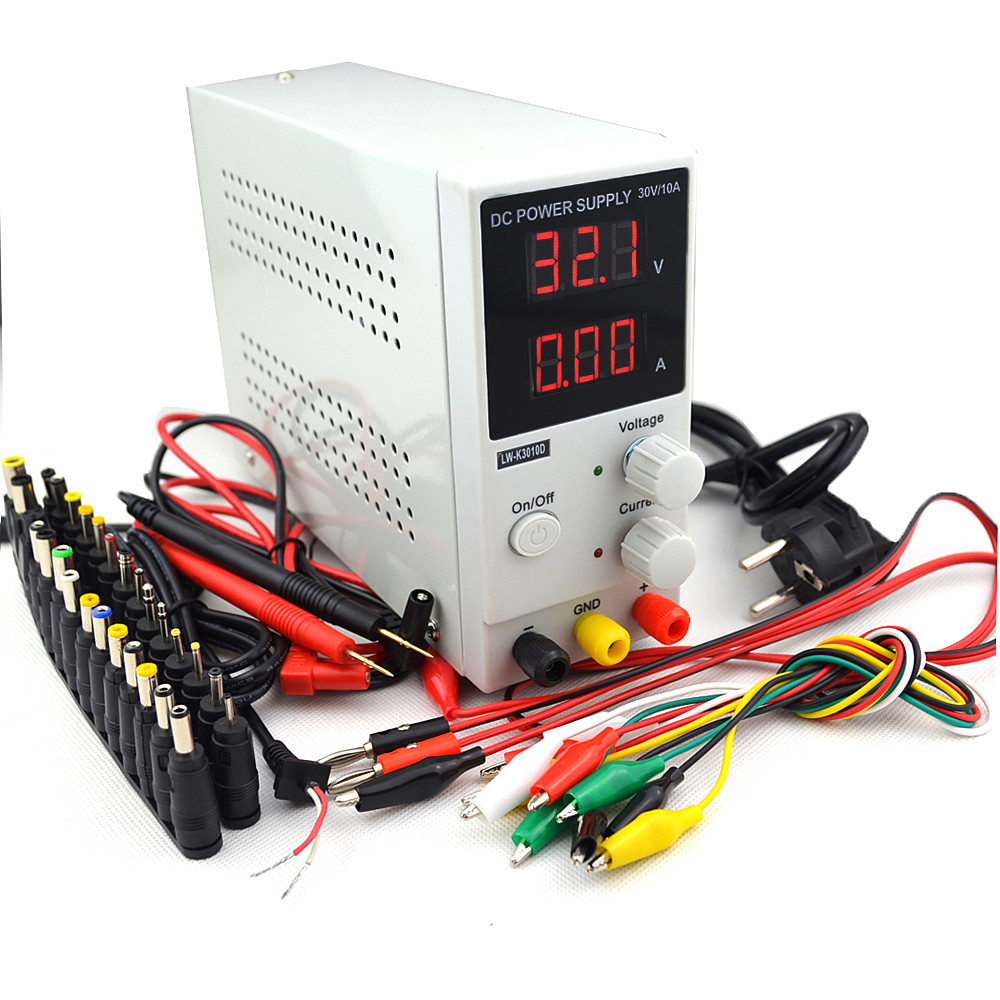 110 V-220 V Lw-3010d Mini Led Digital Einstellbare Dc-netzteil 0 ~ 30 V 0 ~ 10a Dc Jack Schalt Netzteil 0,1 V/0.01a Test Stift Schrecklicher Wert