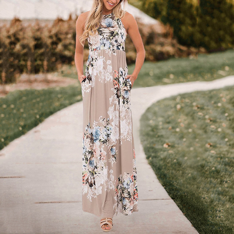 CROPKOP Summer Halter Style Women Casual Loose Dress Floral Print Sleevelss Ladies BOHO Beach Sundress Women Maxi Dress Vestidos in Dresses from Women 39 s Clothing